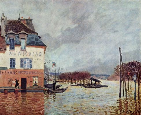alfred sisley berschwemmung in port marly. Black Bedroom Furniture Sets. Home Design Ideas