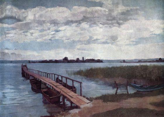 Landschaftsmalerei realismus  Heinrich Wilhelm Trübner: Bootssteg auf der Herreninsel im Chiemsee