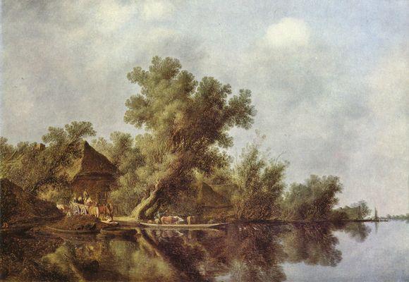 Landschaftsmalerei barock  Salomon van Ruisdael: Flußlandschaft mit Fähre