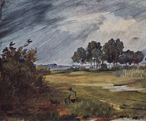 Landschaftsmalerei realismus  Wilhelm Busch: Regenlandschaft
