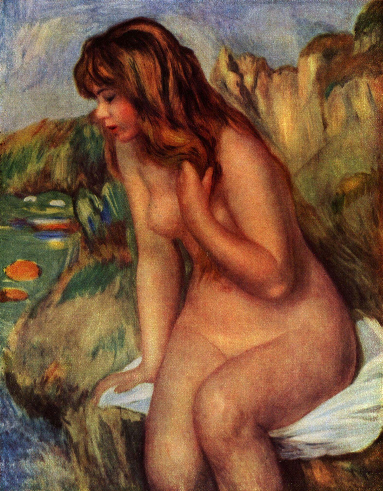 Großbild: Pierre-Auguste Renoir: Badende, auf einem Felsen sitzend: www.malerei-meisterwerke.de/bilder_gross/pierre-auguste-renoir...